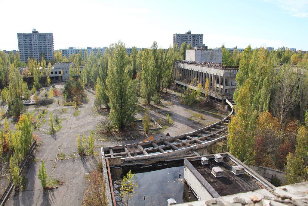 Widok na centrum Prypeci z dachu hotelu Polesie / Fot. Małgorzata Świeżowska