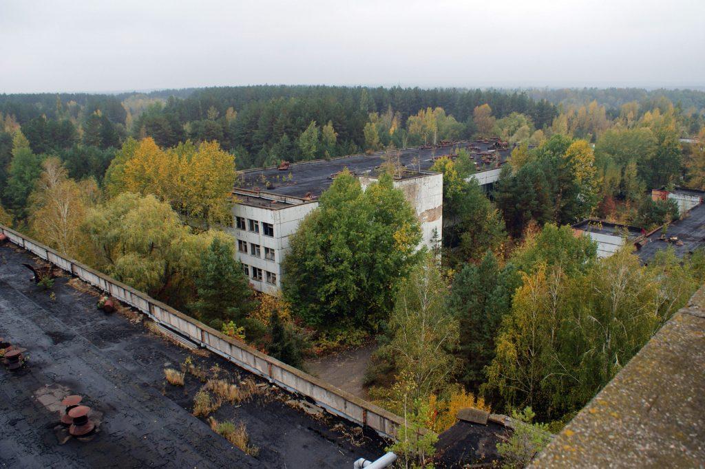 Widok z dachu budynku administracyjnego na pozostałe budynki kompleksu / Fot. Tomasz Róg