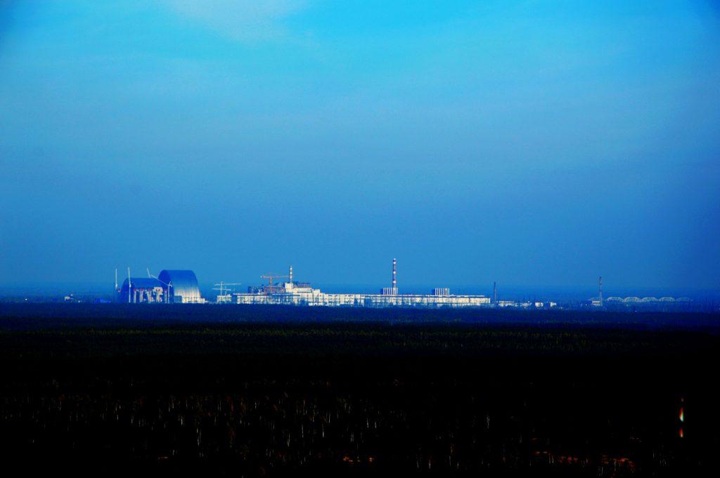 Widok na elektrownię z niższej anteny Oka Moskwy. Wyprawa - październik 2014 r. Fot. Staszek (stalker)