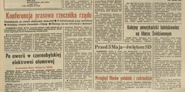 """Fragment strony głównej """"Dziennika Polskiego"""" - numer 100, 30 kwietnia-1 maja 1986 r. / Fot. Dziennik Polski"""