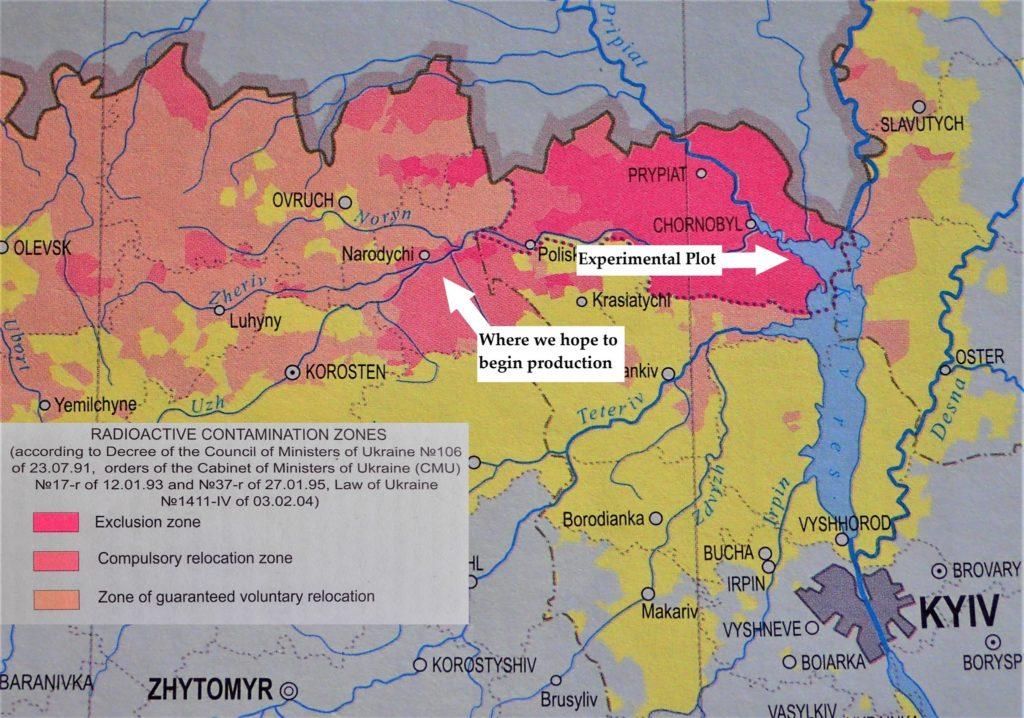 Na mapie zaznaczono miejsce, w którym rosły uprawy wykorzystane do produkcji alkoholu, a także gdzie planowane jest rozpoczęcie masowych upraw. Fot. dazv.gov.ua