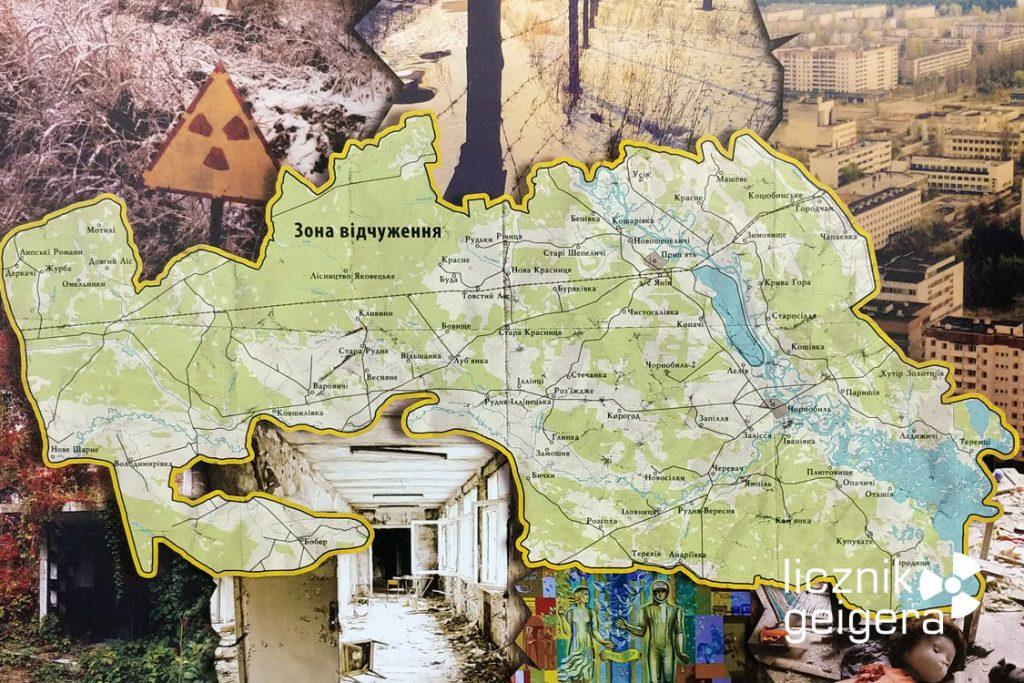 Mapa strefy wykluczenia - ekspozycja muzealna. Fot. Tomasz Róg