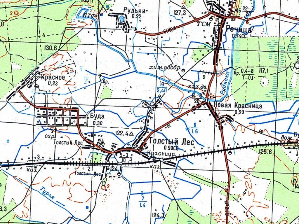 Wycinek z mapy sztabowej ZSRR z 1986 roku w skali 1:50 000 (arkusz M-35-12).