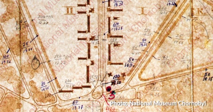 Mapa pułkownika Wołodymyra Grebeniuka - Prypeć w sobotę, 26 kwietnia 1986 r. Fot. National Museum Chornobyl